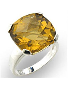 Ring 925 Sterling Silver High-Polished Semi-Precious Citrine Citrine