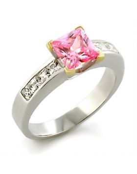 Ring 925 Sterling Silver Reverse Two-Tone AAA Grade CZ Rose