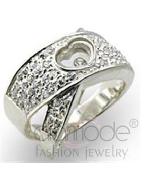 Ring 925 Sterling Silver High-Polished Top Grade Crystal Clear