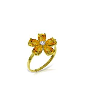 2.22 Carat 14K Gold Coming Up Daisies Citrine Diamond Ring