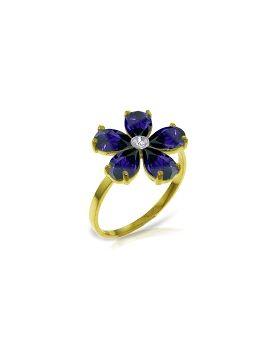 2.22 Carat 14K Gold Sleek And Chic Sapphire Diamond Ring