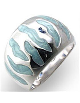 Ring 925 Sterling Silver High-Polished Epoxy Sea Blue
