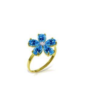2.22 Carat 14K Gold Love So Bright Blue Topaz Diamond Ring