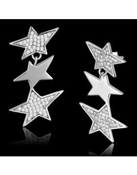 TS381 - 925 Sterling Silver Rhodium Earrings AAA Grade CZ Clear