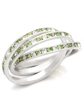 Ring 925 Sterling Silver High-Polished Top Grade Crystal Peridot Round