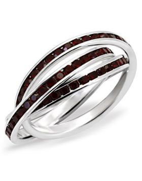 Ring 925 Sterling Silver High-Polished Top Grade Crystal Garnet