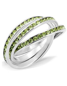 Ring 925 Sterling Silver High-Polished Top Grade Crystal Peridot