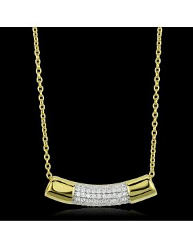 TS452-16 - 925 Sterling Silver Gold+Rhodium Chain Pendant AAA Grade CZ Clear