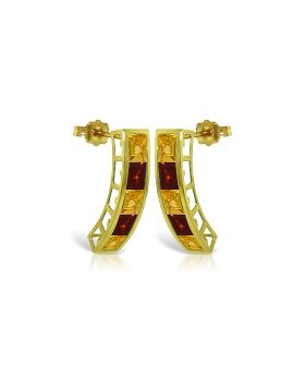 4.5 Carat 14K Gold Earrings Natural Citrine Garnet