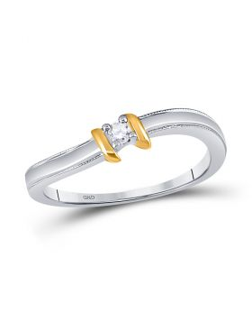10kt Two-tone Gold Womens Round Diamond Solitaire Promise Bridal Ring 1/20 Cttw