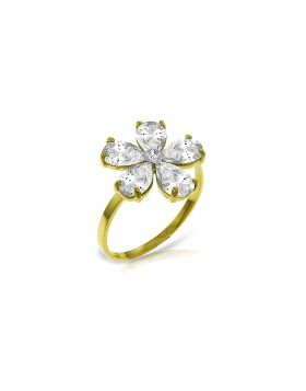 2.22 Carat 14K Gold Ring Natural Diamond White Topaz