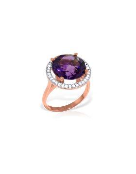 6.2 Carat 14K Rose Gold Ring Natural Diamond Amethyst