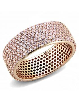 TS612-5 - 925 Sterling Silver Rose Gold Ring AAA Grade CZ Light Rose