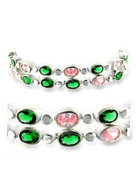 Bracelet 925 Sterling Silver High-Polished AAA Grade CZ Multi Color
