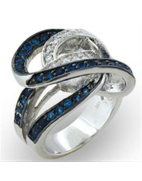 Ring 925 Sterling Silver Rhodium + Ruthenium Synthetic Sapphire Spinel Round