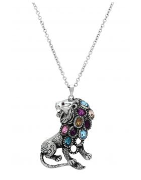 TK1125-32 - Stainless Steel High polished (no plating) Chain Pendant Top Grade Crystal Multi Color