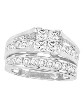 14kt White Gold Womens Princess Diamond Bridal Wedding Engagement Ring Band Set 2.00 Cttw