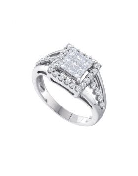 14kt White Gold Womens Princess Diamond Square Frame Cluster Ring 1.00 Cttw
