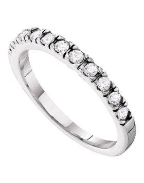 14kt White Gold Womens Round Diamond Slender 3mm Wedding Band 1/3 Cttw
