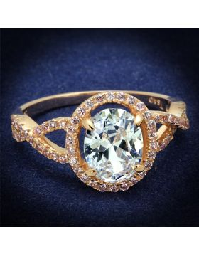 Ring,925 Sterling Silver,Rose Gold,AAA Grade CZ,Clear