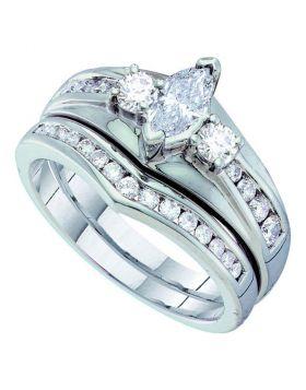 14kt White Gold Womens Marquise Diamond Bridal Wedding Engagement Ring Band Set 1.00 Cttw