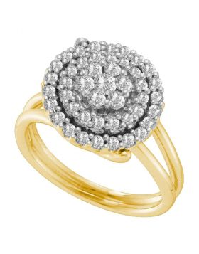 14kt Yellow Gold Womens Round Diamond Concentric Circle Flower Cluster Ring 3/4 Cttw