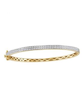 14kt Yellow Gold Womens Round Diamond Bangle Bracelet 1.00 Cttw