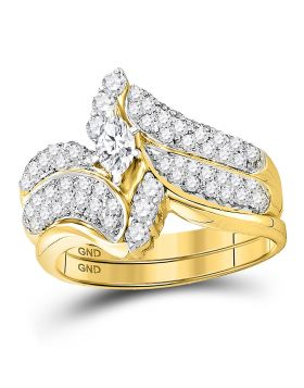 14kt Yellow Gold Womens Marquise Diamond Bridal Wedding Engagement Ring Band Set 1.00 Cttw