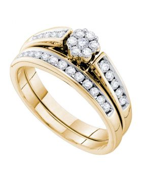 14k Yellow Gold Round Diamond Flower Cluster Womens Wedding Bridal Ring Set 1/2 Cttw