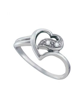 14kt White Gold Womens Round Diamond Simple Heart Ring 1/20 Cttw