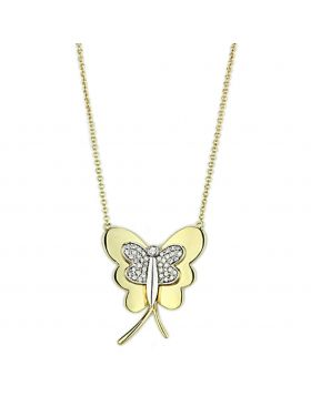 3W459-16 - Brass Gold+Rhodium Necklace AAA Grade CZ Clear