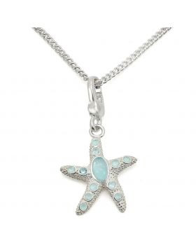 LOS442-16 - 925 Sterling Silver Silver Chain Pendant Synthetic Sea Blue
