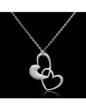 TS036-16 - 925 Sterling Silver Rhodium Chain Pendant AAA Grade CZ Clear