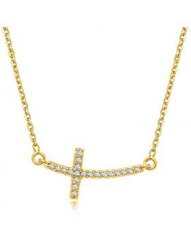 14k Yellow Gold Diamond Accented Curved Cross Necklace (.11cttw)