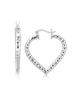 Sterling Silver Rhodium Plated Heart Style Hoop Diamond Cut Earrings