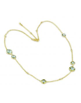 LO2703-16+4 - Brass Gold Necklace Synthetic Emerald