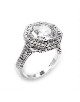 6X211-5 - 925 Sterling Silver High-Polished Ring AAA Grade CZ Clear