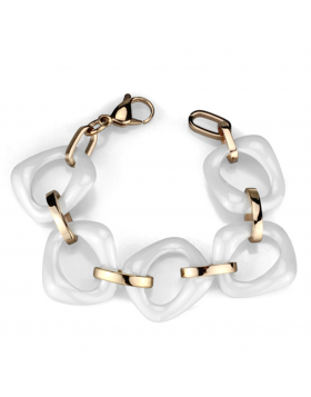 Bracelet Stainless Steel IP Rose Gold(Ion Plating) Ceramic White