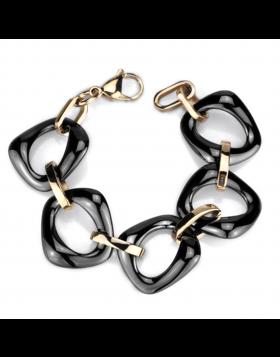 Bracelet Stainless Steel IP Rose Gold(Ion Plating) Ceramic Jet