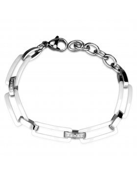 Bracelet Stainless Steel High polished (no plating) Ceramic White