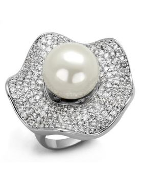 Ring Brass Rhodium Synthetic White Pearl