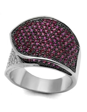 Ring Brass Rhodium + Ruthenium AAA Grade CZ Ruby