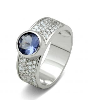 Ring Brass Rhodium Synthetic Light Sapphire Synthetic Glass