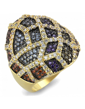 Ring Brass Gold+Ruthenium AAA Grade CZ Multi Color