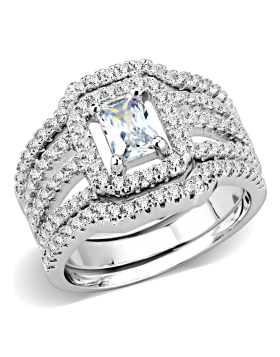 Ring Brass Rhodium AAA Grade CZ Clear Oblong