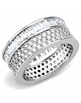 Ring Stainless Steel Rhodium AAA Grade CZ Clear