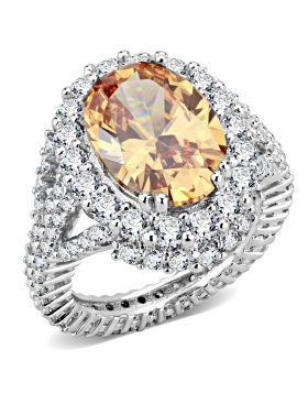 Ring Brass Rhodium AAA Grade CZ Champagne Oval