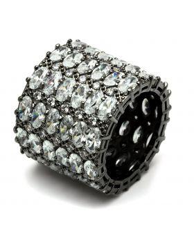 Ring Brass Ruthenium AAA Grade CZ Clear