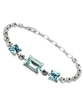 Bracelet Brass Rhodium Top Grade Crystal Sea Blue
