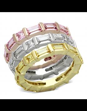 Ring Brass Tricolor AAA Grade CZ Multi Color